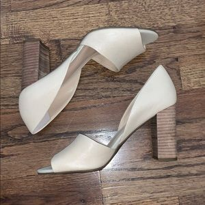 Franco Sarto cream shoes with thick, brown heel